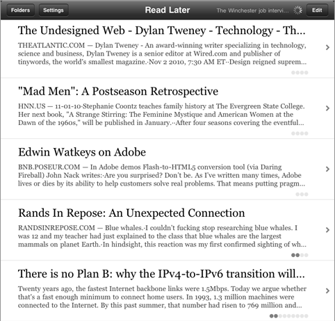 Instapaper on the iPad